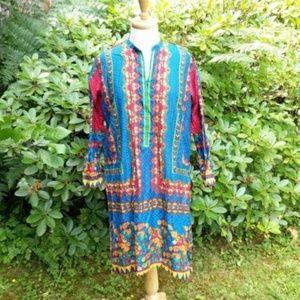 J Pret Floral Ethnic Tunic 100% Cotton Blue